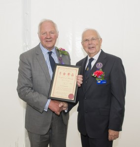 Photo: Tony Garnett DL ARAgS (left) receives his a Fellowship award from Show President Vic Croxson DL MBA FRAgS, on behalf of the the Council for Awards of the Royal Agricultural Societies, at the Royal Cheshire County Show 2016.